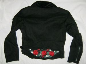 L-XL-Hell-Bunny-Canvas-Biker-Jacket-w-Tartan-Skull-NEW-14-16-Goth-Tattoo-Black