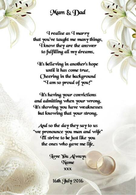 Wedding Day Thank You Gift Mum Dad Of The Bride Or Groom Poem A5