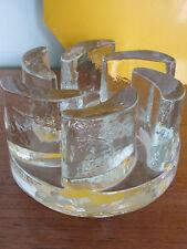 Mid century kosta Boda clear glass candle holder / plate warmer sunburst retro