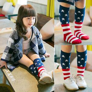 Baby-Kids-Girls-Toddler-American-Flag-Socks-Knee-High-Hosiery-Tights-Leg-0-6T