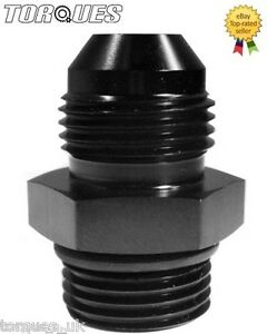 """AN -6 (AN6 AN 06) to ORB-6 (9/16"""" UNF) O-Ring Boss Adapter In Black"""