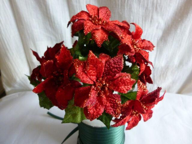 Christmas Velvet Red Poinsettia - Artificial spray - 22cm - 9 Flowers & Leaves