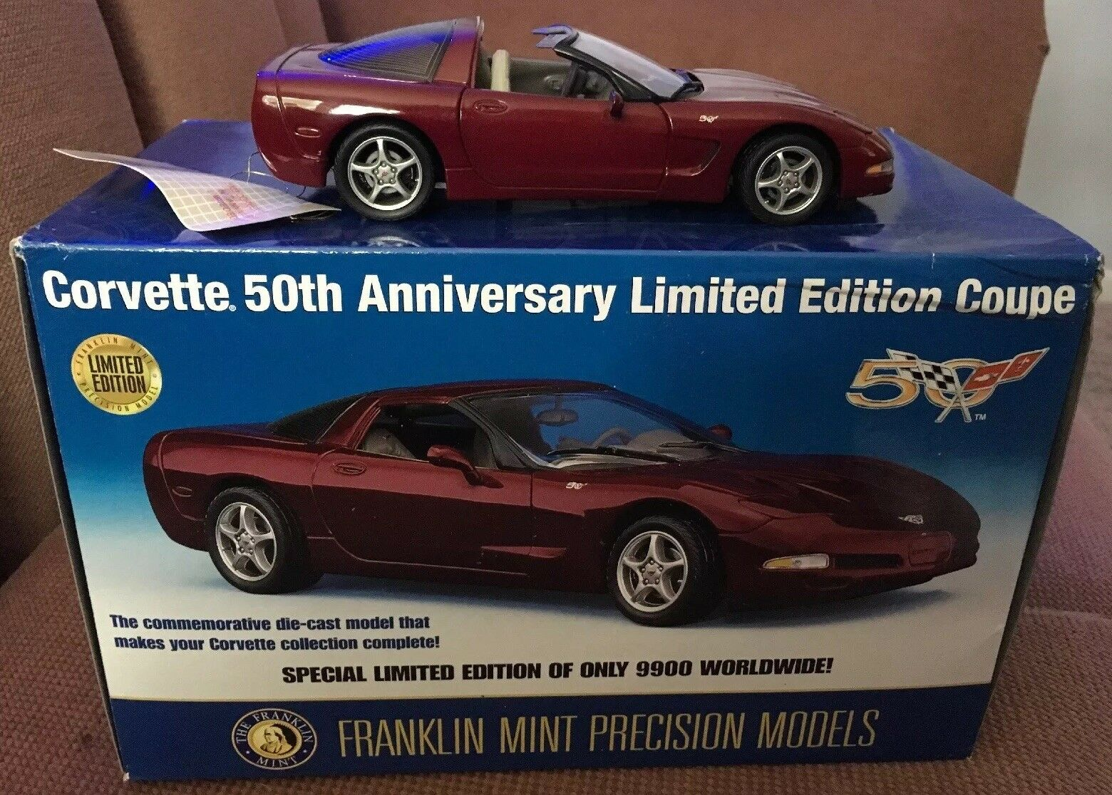 Franklin Comme neuf Chevrolet corvette 2003 Bourgogne 50th Anniversary Limited Edition