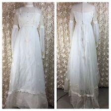 Vintage 70s Medieval Boho Prairie Witch High Yoke Wedding Dress Folk Victorian h