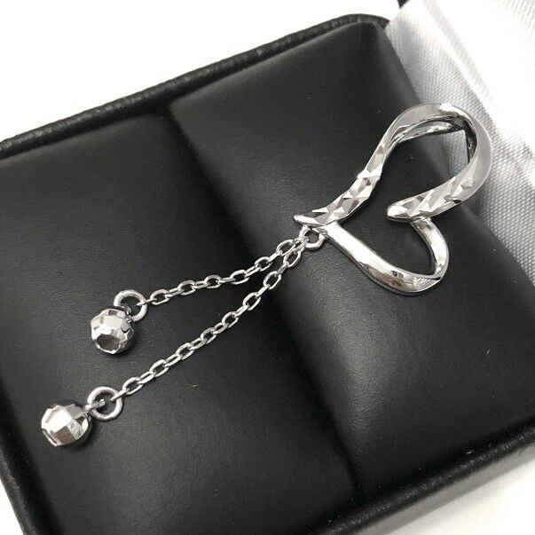 Gorgeous SOLID 14k White gold Heart Pendant Charm Women Hammer Jewelry Gift Box