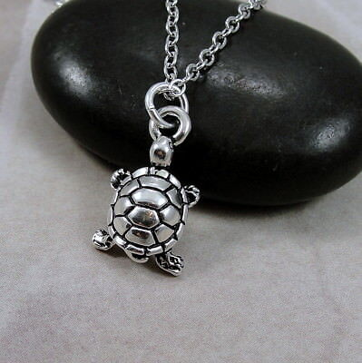 """SILVER TURTLE TORTOISE CHARM NECKLACE PENDANT 16/"""" 18/"""" 20/"""" CHAIN FREE GIFT BAG"""