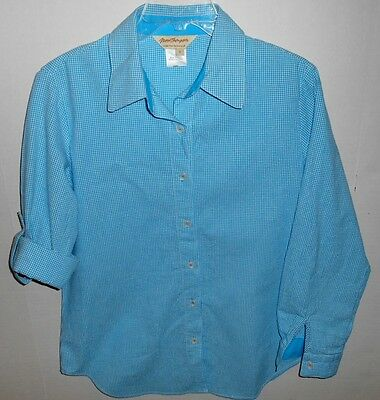 Norm Thompson Blue Check Flip Cuff Button Front Shirt Women's Size Small