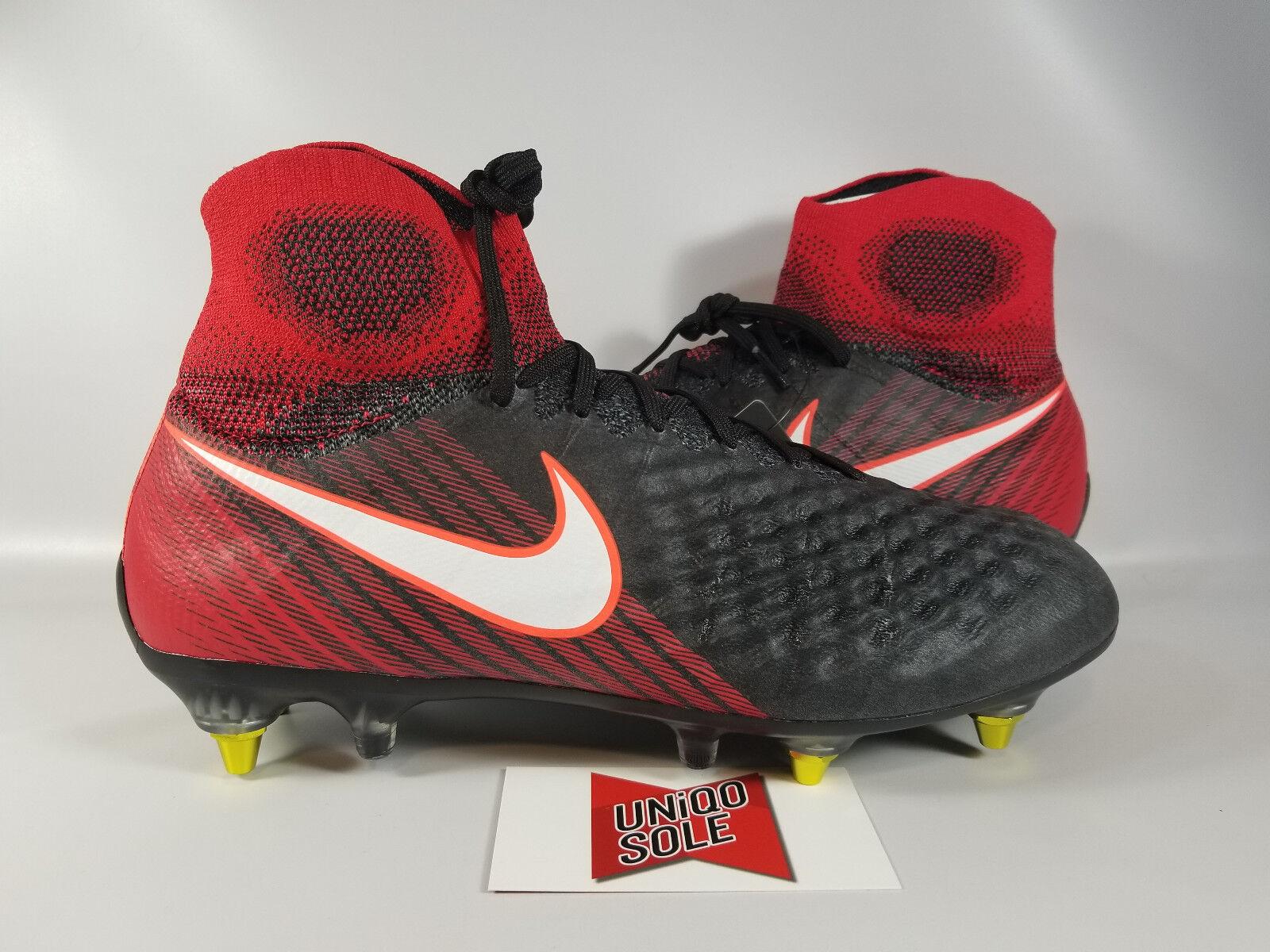 Nike Magista obra II SG Pro AC jugar Fuego botín Negro Rojo 869482-061 botín Fuego de fútbol 89cb83