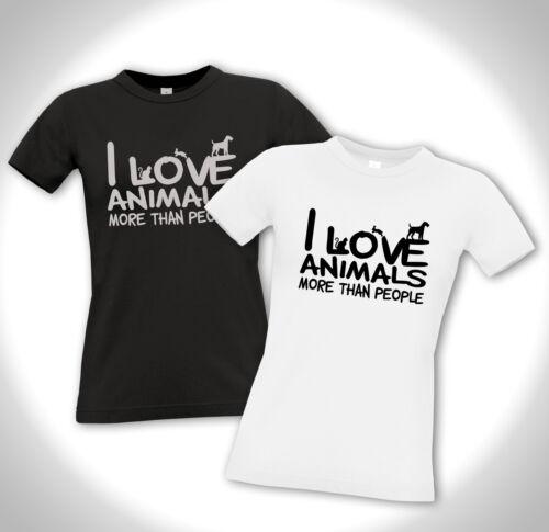 Hund Katze Tierschutz Vegan Girlie Shirt I LOVE ANIMALS MORE THAN PEOPLE