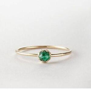 Minimalist-0-25Ct-Round-Cut-Emerald-Dainty-Ring-Band-Yellow-Gold-Finish-Silver
