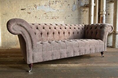 Mink Velvet Chesterfield Sofa