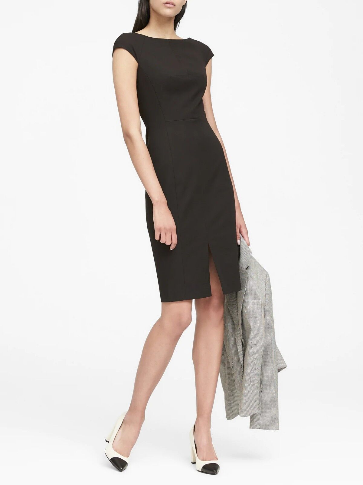 Banana Republic Bi-Stretch V-Back Sheath Dress, schwarz Größe 10     E1212