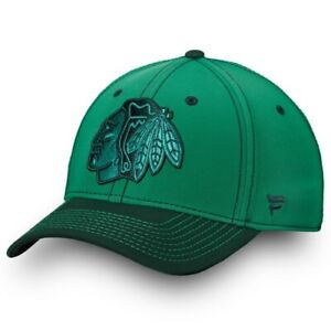 Chicago-Blackhawks-Fanatics-Branded-St-Patrick-039-s-Day-Shamrock-Speed-Flex-Hat