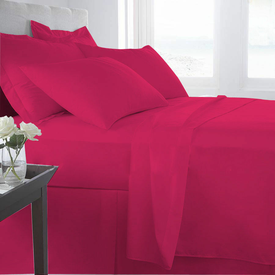 1000 Thread Count Egyptian Cotton Fitted Sheet Bedding Items Hot Pink Solid