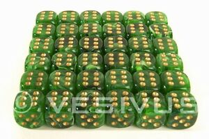 Dice Chessex Vortex Green Mini Marble Swirl 36d6 D6 Block Set Plastic 12mm 27835 Ebay