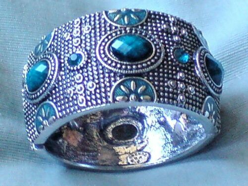 Brazalete Pulsera 4cm Ancho Silvertone Con Piedras Turquesa Oval /& Diamonte £ 7.95