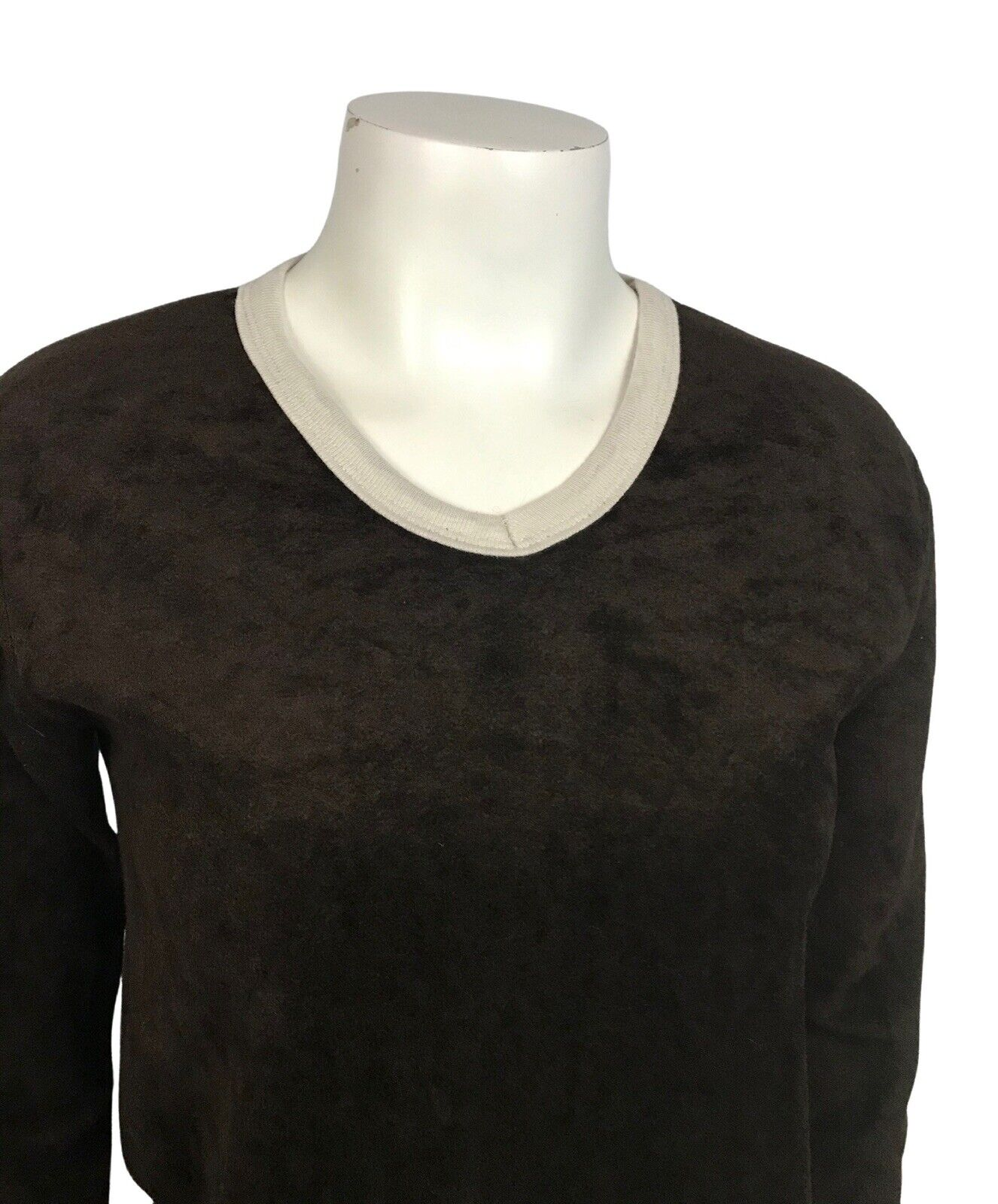 1970s Velour Sweater / 70s Brown Long Sleeve Ring… - image 2