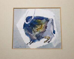 vintage-original-Pat-San-Soucie-watercolor-figural-buffalo-animal-painting