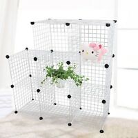 Modular Cube Storage Shelving Unit System 8 Wire Mesh Boxes Stackable