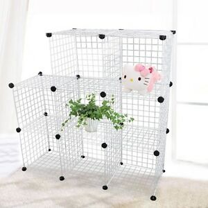 new modular cube storage shelving unit system 8 wire mesh boxes stackable ebay. Black Bedroom Furniture Sets. Home Design Ideas