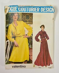 Vtg-70s-VOGUE-COUTURIER-DESIGN-by-VALENTINO-Sewing-Pattern-Dress-Day-Evening
