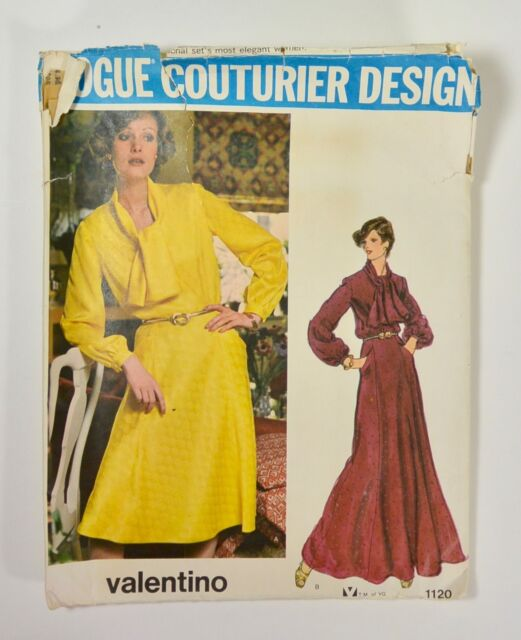 Vtg 70s VOGUE COUTURIER DESIGN by VALENTINO Sewing Pattern Dress Day Evening
