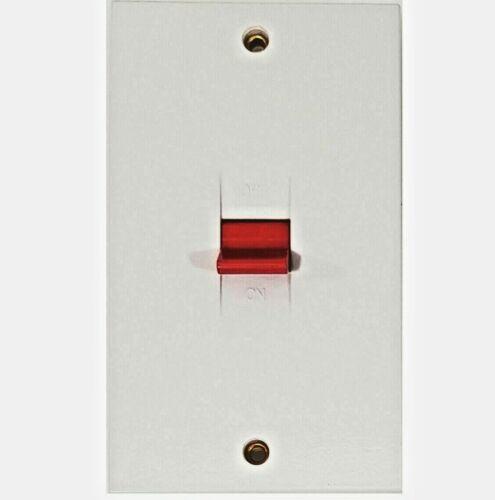 NEUF 45 Amp Double Pôle Plastique Blanc Cuisinière Interrupteur Isolateur 2 Gang douche chaudière
