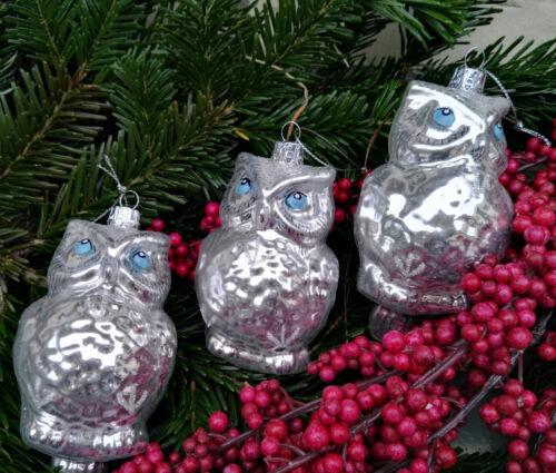 3 x Eulen Uhu groß silber Glas Baumschmuck Christbaumkugeln Weihnachten im Set