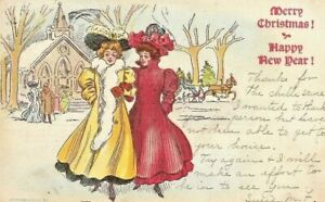 Antique-Vintage-PostCard-Victorian-Women-Christmas-New-Year-1907-Lithograph