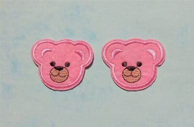 2 Iron On Embroidered Yellow Teddy Bear Head Applique Patch IR2