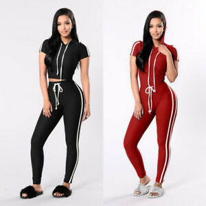 25f42db4a6d Fashion Women Hood Short Sleeves Casual Skinny Pant Jumpsuit Rompers ...