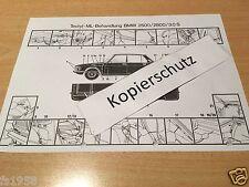 BMW E 3  2500 - 2800, 3,0 S - 3,0 Si - Tectyl ML Hohlraumversiegelungsplan