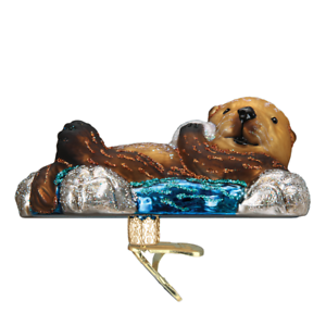034-Floating-Sea-Otter-034-12506-X-Old-World-Christmas-Glass-Ornament-w-OWC-Box