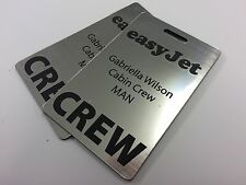 2 x PERSONALISED AIRLINE CREW TAG ANY AIRLINE LASER ENGRAVED SILVER OR GOLD