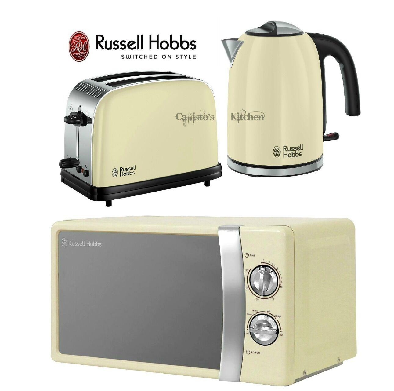 Russell y HOBBS Colours Plus Tostadora Hervidor y Russell conjunto y Manual Crema Microondas Nuevo 44a434