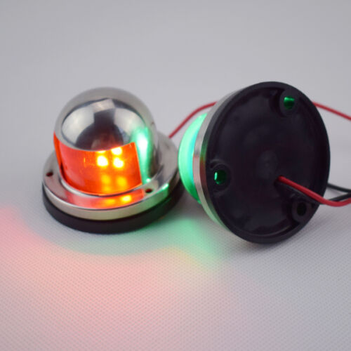 12V DC Boat Yatch One Pair Bow Navigation LED Light Red+Green Stainless Housing