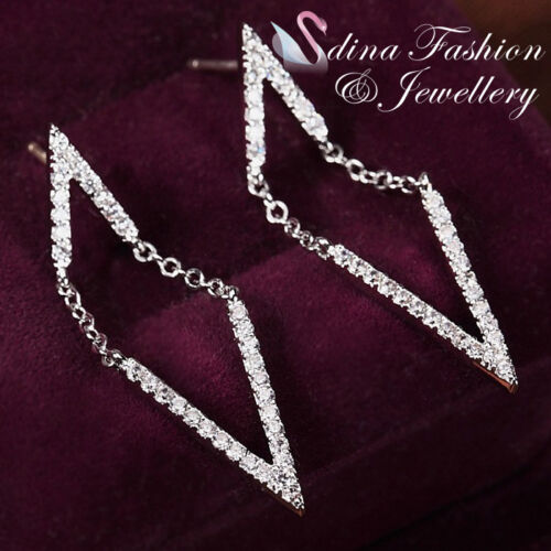 925 Sterling Silver Simulated Diamond Studded Exquisite Double V Earrings