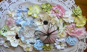 PRETTY-PASTELS-Flowers-VALUE-PACK-approx-3-5-to-9cm-across-23-Flowers-MH