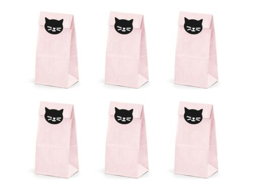 Pink Cat Kittens Birthday Party Sweet Treat Bags /& Stickers Pack of 6