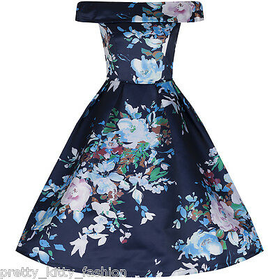 PRETTY KITTY NAVY FLORAL SATIN COCKTAIL 50s ROCKABILLY SWING PARTY PROM DRESS