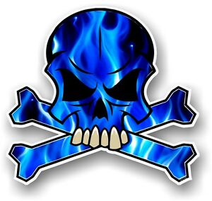 SKULL & CROSSBONES Design & Electric Blue Flames Horror ...