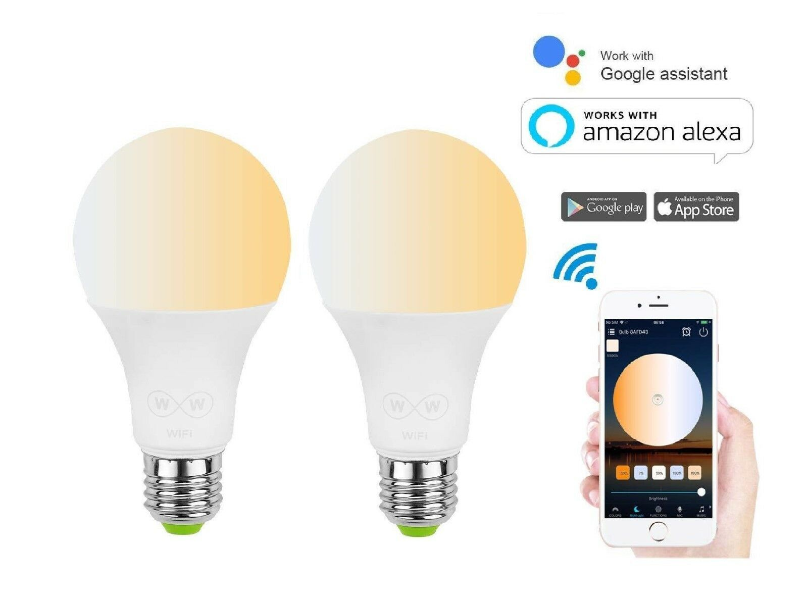 LOHAS Smart WIFI bulb E27- Compatible with Alexa and Google Devices