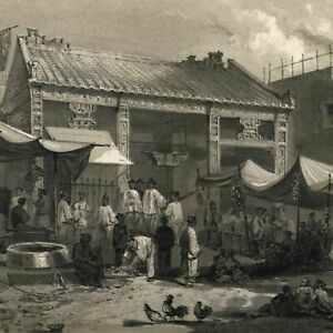Canton-China-Fish-market-street-scene-1856-Perry-Expedition-old-litho-view-print