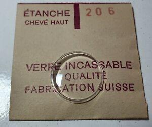 Verre-de-montre-suisse-bombe-plexi-diametre-206-Watch-crystal-vintage-NOS