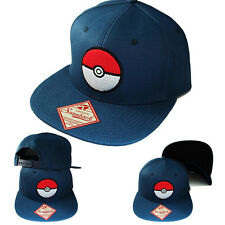 Pokemon Ball Cartoon Blue Snapback Hat Flat Bill Video Game TV Show Youth Cap