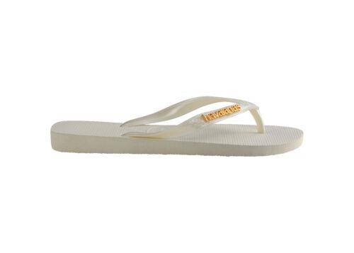 Havaianas Bride D/'Orteil Flops Logo Metallic White Blanc Nouveau