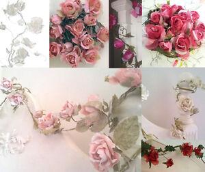 Details about 5ft VINTAGE ROSE GARLANDS Flower Pale Pink Cream White  Wedding Bedroom Decor NEW