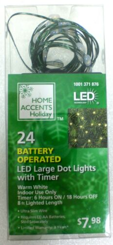 Home Accents 24 Battery Powered LED Large Dot Lights With Timer **Brand New**