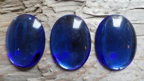 Cabochon GLASS Princess Gem Fun 30x40mm COBALT BLUE colored pkg of 3