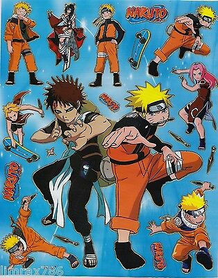 NEW NARUTO IN ACTION SCRAP BOOK STICKERS OR ROOM DECOR HQ  (BUY 5 MIX FREE 1)